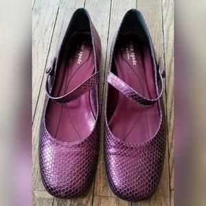 Kate Spade Purple Snakeskin Mary Janes Flats Strap